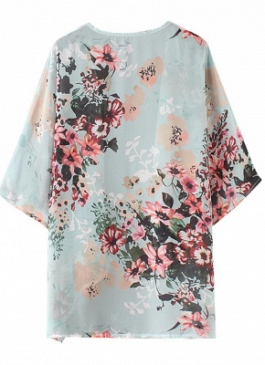 Summer Women Floral Chiffon Cardigan Sexy Open Front Half Sleeve Kimono_6