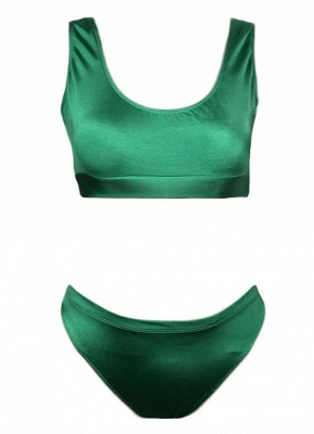 Hot Solid Color Round Neck Sleeveless Womens's Tank top Swimsuit_4