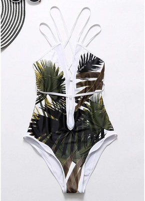 Leaves Printed Plunge V Neck Crisscross Strappy One-piece Bathing Suit UK_4