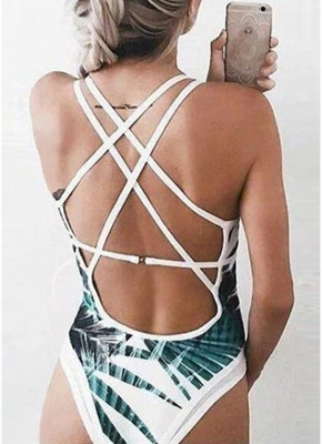 Leaves Printed Plunge V Neck Crisscross Strappy One-piece Bathing Suit UK_6