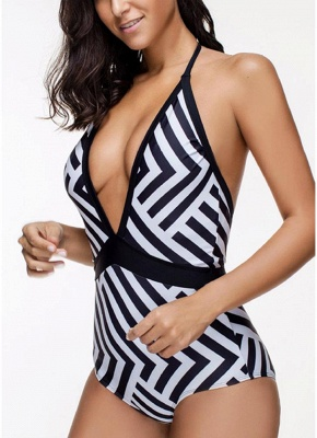 Hot Women Striped Halter Deep V-Neck Sexy Backless Suit Bikini UK Swimsuits UK_5