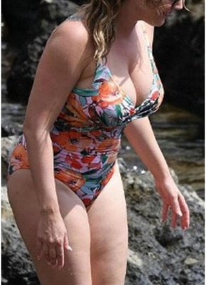 Plus Size Floral Backless Plunge Swimsuit_3