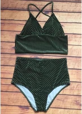 Solid High Waist Velvet Sexy V-Neck Bikini Set_4
