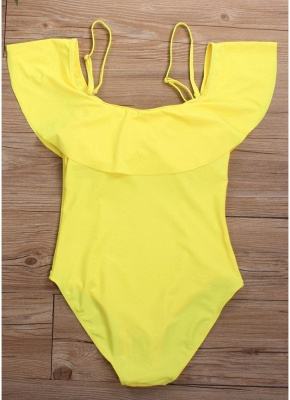 Women Off the Shoulder Bathing Suit UK Ruffles Spaghetti Straps Padded Solid_3