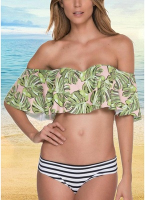 Off the Shoulder Ruffles Striped Leaf Print Bathing Bikini Set_1