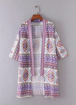 Bohemian Fashion Chiffon Geometric Print Loose Women's Kimono_4