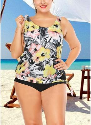 Plus Size Floral Print Tankini Sleeveless Two Piece Swimwear_1