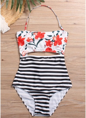 Floral Striped Halter One Piece Swimsuit_3