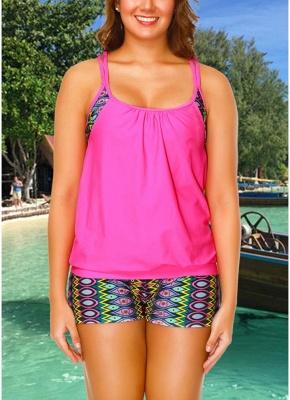 Geometric Print Sleeveless Sexy Open Back Padded Wireless Swimsuit_1