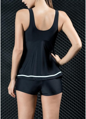 Women Tank Top Bathing Suit UK Tankini Set Contrast Color Vest Bottom Swimsuit_3
