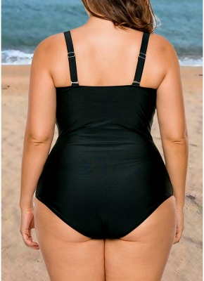 Modern Women Plus Size One Piece Swimsuit Color Block Underwire Padded Push Up_3
