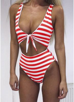 Striped Tie Front Wireless Women One Piece Monokini_1