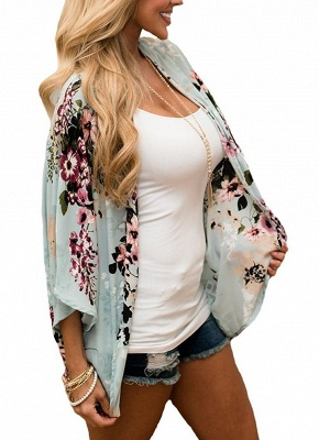 Summer Women Floral Chiffon Cardigan Sexy Open Front Half Sleeve Kimono_3