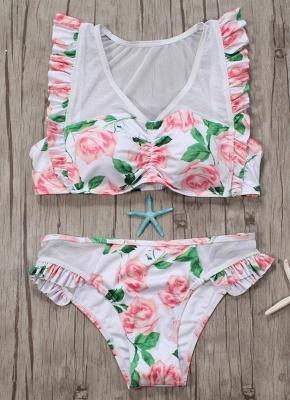 Hot Womens Tank top Swimsuit Printed Mesh Ruffled Beach Bathing Suit Bikini Set Swimsuit Pink?_3