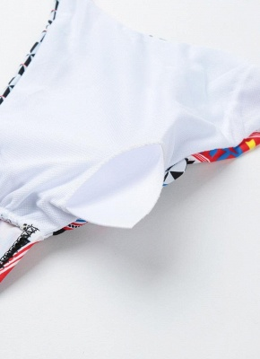 Push Up Padded Geometry Print Cross Halter Bikini Set UK_8