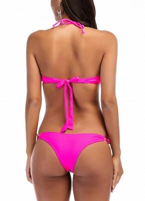 Halter Geometric Print Bandage Underwire Push Up Bikini Set_5