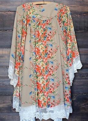Retro Floral Lace Hem Bohemian Chiffon Kimono_3