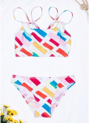 Womens Print Bikini Set Spaghetti Strap Push Up Padded Swimsuit Bathing Suit Swimsuit_1