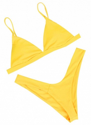 Womens Thong Bikini Set Spaghetti Strap Tank top Swimsuit Solid Swimsuit_1