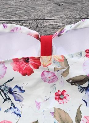 Women Floral Contrast One Piece Bathing Suit UK_6