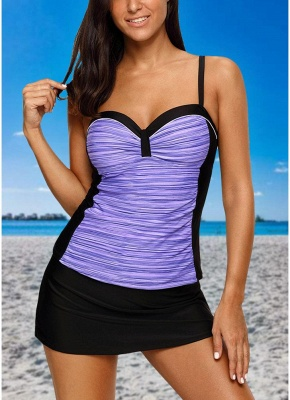 Womens Bikini Set Swimsuit Push Up Bathing Suit Contrast Beach Wear Swimsuit Plus Size Tankini Skirt Set_2