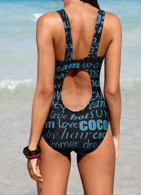 Letter Print Cut Out Back Padded Wireless One Piece Bathing Suit UK_3