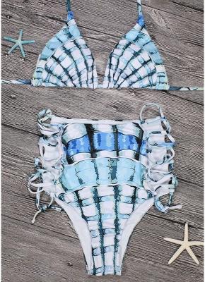 Womens Tank top Bikini Set Halter Plaid Print Padded Bandage Criss Over High Waist Hot Swimsuit_6