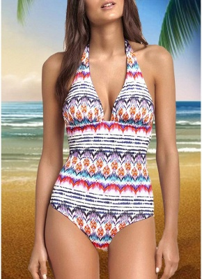 Womens One-piece Swimsuit Colorful Striped Halter Monokini Bathing Suit Swimsuit_1