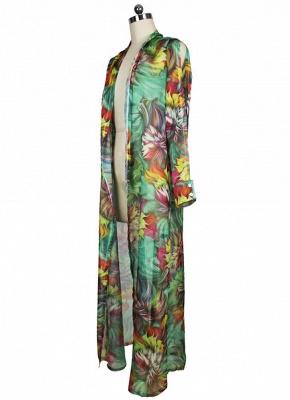 Hot Women Chiffon Bikini UK Cover Up Floral Bohemia Cardigan Kimono Loose Outerwear Beachwear Green/Blue_7