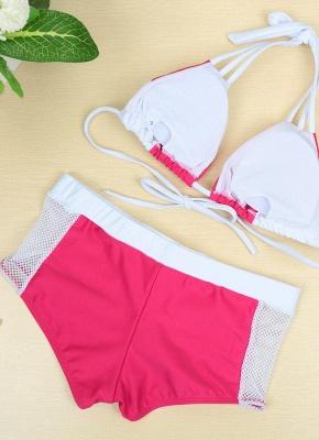 Hot Color Block Halter Padded Tank Top Rose Bikini Set UK_3