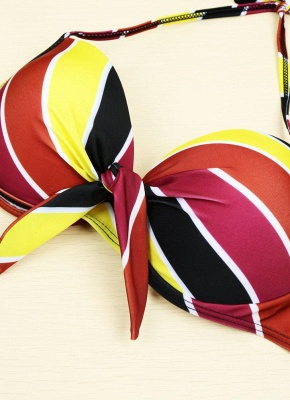Contrast Stripe Underwire Padded Cup Tie Bikini Set UK Bathing Suit UK_5