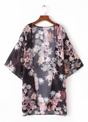 Fashion Chiffon Loose Cardigan Front Floral Retro Women's Kimono_4
