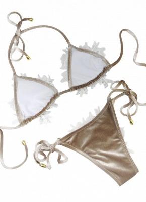 Womens Velvet Swimsuit Halter Crochet Lace Tie Wireless Bathing Suit Bikini Beach Wear_4