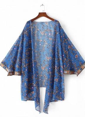 Vintage Chiffon Floral Leaf Print Modern Women's Loose Kimono_3