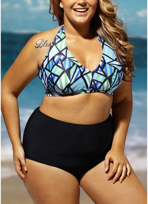 Plus Size Geometric Print Halter Backless High Waist Wireless Padding Bikini Set_3