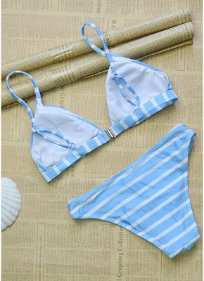 Womens Striped Bikini Set Sexy Open Back Low Waist Summer Beach Swimsuit Bathing Suit_5