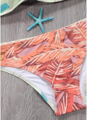 Hot Womens Bikini Set Spaghetti Strap Contrast Color Bandage Cross Lacing Padded Wireless Swimsuits Yellow_5