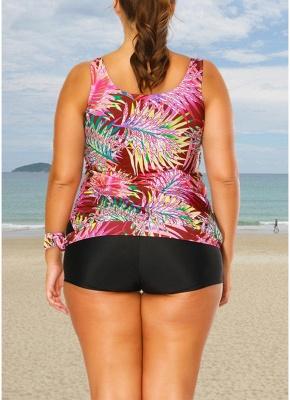 Plus Size Print Tankini O Neck Sleeveless Two Piece Swimwear_5