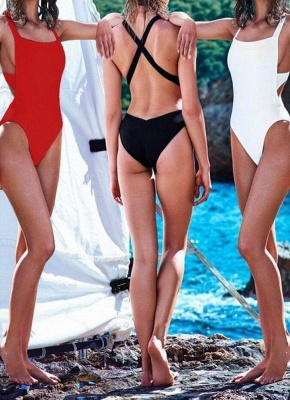 Sexy Backless Cross Strap Padded One Piece Swimsuits UK_8