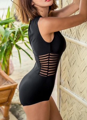 New Hot Womens One-piece Swimsuit Mesh V Neck Hollow Out Solid Padded Beach Bathing Suit Swimsuit Black_3