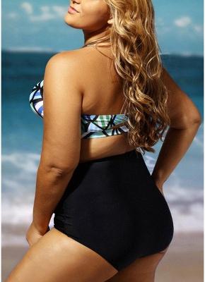 Plus Size Geometric Print Halter Backless High Waist Wireless Padding Bikini Set_6