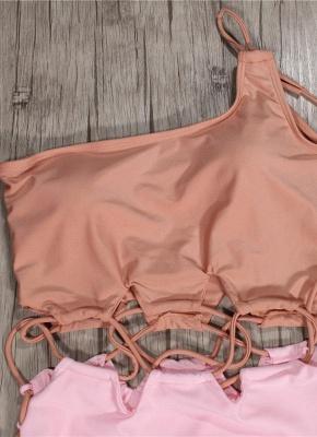 Women Single Shoulder One Piece Solid Color Bathing Suit UK_4