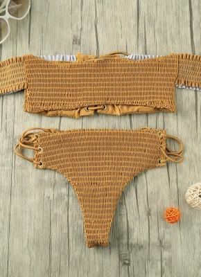Hot Women Smocked Off the Shoulder Lace Up Bikini Set UK_1