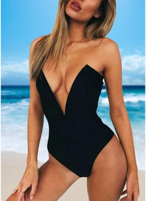 Hot Womens One Piece Bikini Monokini Swimsuits Deep V-Neck Sexy Open Back Solid Bathing Suit Beach Wear_2