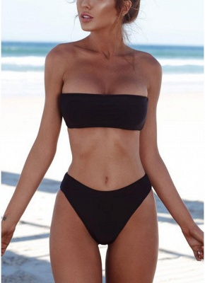 Womens High Waist Bikini Set Push Up Swimsuit Bathing Suit Solid Swimsuit_4
