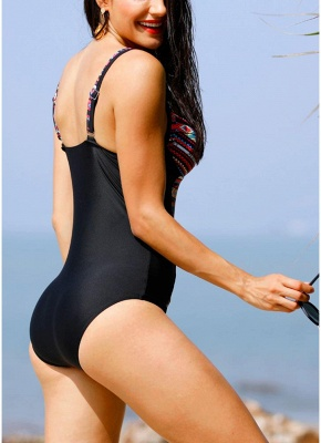 Womens Print One Piece Swimsuit Padding Push Up Wireless Beach Bathing Bathing Suit_3