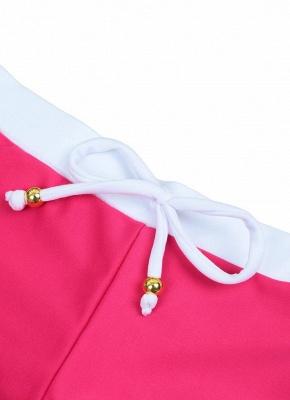 Hot Color Block Halter Padded Tank Top Rose Bikini Set UK_6