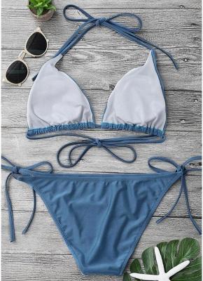 Solid Color Halter Bodycon Tie Bikini Set UK_6