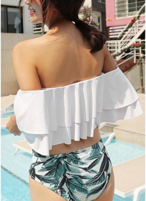 Modern Women Bikini Set Off the Shoulder Slash Ruffles Cut Out Waist Leaves Print_3