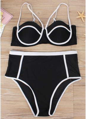 Plus Size High Waist Hollow Out Two Pieces Swimsuits_3